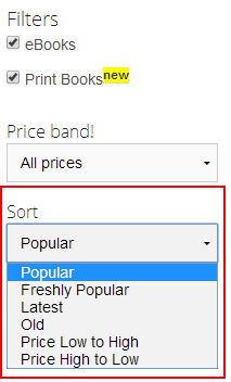 Kinige Books Sorting Options
